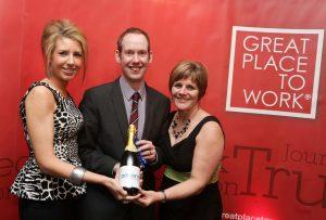 Power NI employees Ashleigh Best, Ian Halliday and Gillian McAuley.