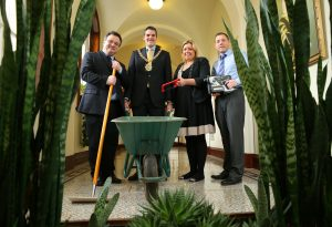Lord Mayor Gavin Robinson with Cllr Deirdre Hargey and DEL Minister Stephen Farry