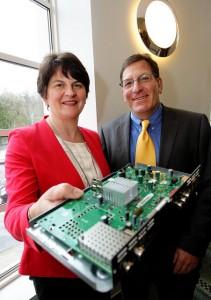 Enterprise Minister Arlene Foster and Latens system president Carmi Bogot