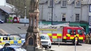 Fire crews attend the scene of an arson attack on a derelict building in Ballycastle