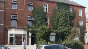 The scene on Wednesday in Botanic, south Belfast following fire at three houses