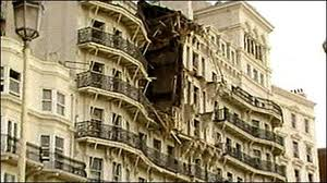 The devastation caused to the Grand Hotel in Brighton after an IRA bomb went off