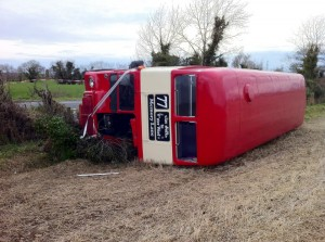 The overturned double decker bus on Saturday which was carrying around 62 wedding guests