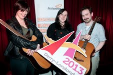 L TO R: Firstsource employees Sharon White, Aoife White and Nate McCartney have been selected to showcase their talent at the 'Music City!' festival in Derry~Londonderry on June 21
