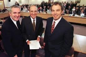 Bertie Ahern, George Mitchell and Tony Blair with the Good Friday Agreement