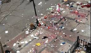 The scene of devastation at the Boston maratthon on Monday