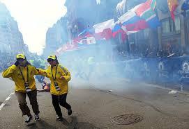 People flee in terror as bomb explodes at Boston marathon on Monday