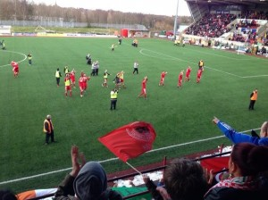 Cliftonville players celebrate after their 3-1 victory over Crusaders on Easter Tuesday