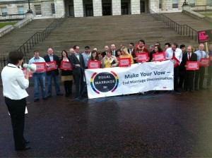 A protest held at Stormont on Monday as MLAs vote on Same Sex Marriage Bill