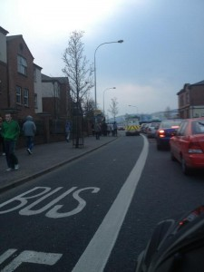 Police in PSNI landrover taking pictures of republicans in west Belfast
