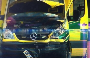 The mangled front of the Mercedes ambulance following crash in west Belfast