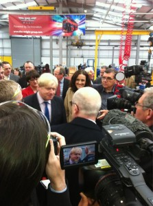 London Mayor Boris Johnson at the new Wrightbus plant in Ballymena