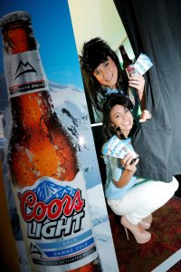 Coors Light promotional girls get snap happy in the Coors Light photobooth which has visited bars all over Northern Ireland.