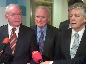 Martin McGuinness, Allstate MD Bro McFerran and First Minster Peter Robinson at jobs announcement on Tuesday