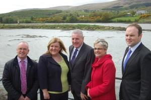 SDLP MP Margaret Ritchie with Vernon Coaker MP (centre) and Karen McKevitt MLA at Narrow Water Bridge site last Thursday