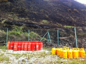 Several doze propane gas bottles near the scene of Rathlin island gorse fire