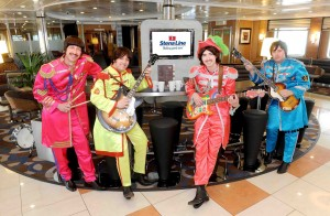 The Beatles, (aka the Cavern Club Beatles) enjoying all the benefits of Stena Line's new Supercruise service in a Comfort Class Cabin