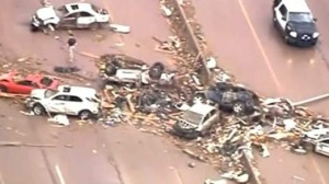 The wreckage on a motorway in Moore, Oklhahoma after tornado strikes