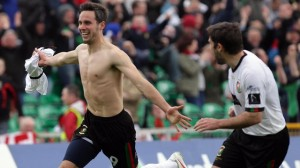 Glens striker Andy Waterworth celebrates after equalising against Cliftonville