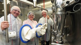 Enterprise Minister Arlene Foster at Almac's Craigavon plant on Tuesday
