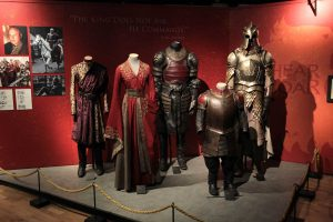 Pictured are costumes and outfits from HBO's Game of Thrones Exhibition