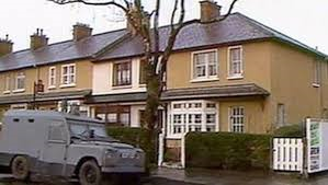 Margaret Telford's home in north Belfast with RUC landrover outside