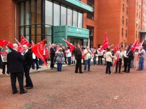 NIPSA members protesting in Belfast over privatisation in DSD