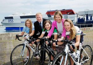 Michael Byrne from Stena Line met with some of the riders at Dun Laoghaire Port recently - (from left) Rachael Kaye-Mellor of Joe Daly Cycles, Charlotte McaDonald from Orwell Wheelers, race organiser, Valerie Considine and Melanie Spath, the newly crowned two-time National Road Racing Champion of Ireland.