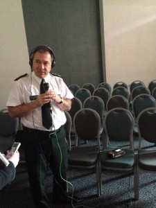 Chief Constable Matt Baggott gets ready for interview on BBC Radio Ulster Talkback show