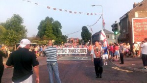 Orangmen returning to north Belfast on the Twelfth of July