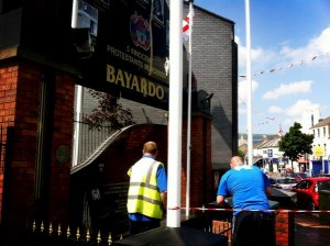 Work under way to clean up the Bayardo bar memorial after it was attacked with paint