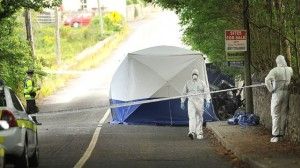 The scene of the crash in Westport where a car boot was found to contain the bodies of two missing brothers