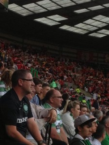 Cliftonville fans doing 'The Huddle' at Celtic Park on Tuesday night