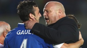 David Jeffrey congratulates Michael Gault for scoring a stunning goal