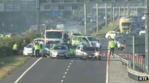 The crash scene on the M1/M50 junction on Wednesday after Gardaí ram a stolen car