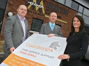 Mercury Security Management directors Liam Cullen (left) and Francis Cullen have joined forces with Guardian24's Grainne McCullagh to offer much needed protection to vulnerable lone workers
