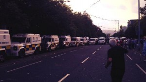 Police call for people to clear the Newtownards Road