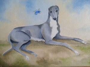 The oil painting of Norman the racing greyhound which is being auctioned to raise funds for his recuperation