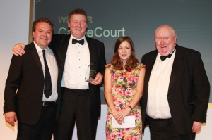 CastleCourt Security Manager Stewart McConnell (second left) and Frank Cullen (right) of Mercury Security Management, Northern Ireland's biggest independent security company, receive the Best Security Team award at the prestigious SCEPTRE Awards,