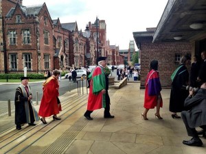 Sir David Attenborough arrives at Queen's University, Belfast on Monday to receive his honorary degree