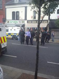 PSNI TSG police arrest Willie Frazer at a cafe on the Newtownards Road