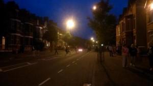 Burning barricade on Woodvale Road on Tuesday night