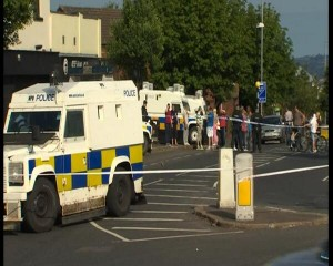 The scene of the blast attack on police in north Belfast