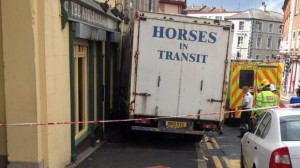 The scene of the accident in Downpatrick of the runaway horsebox which struck a woman and infant child