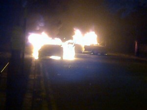 Two cars on fire in Templemore Avenue in east Belfast