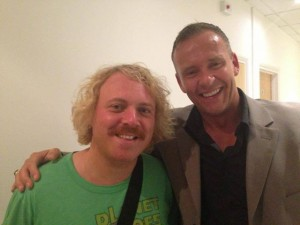 Therapist Craig Price with ITV2 Celebrity Juice host Keith Lemon