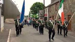 The IRA parade through Castlederg in August. Unionist claim a Gerry Kelly speech 'glorified terrorism'