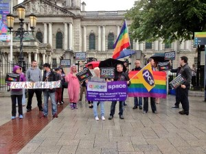 LBGT protestors gather in Belfast over Russia's homophobic laws