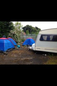 Tents pitched and a caravan brought in for protest in north Belfast