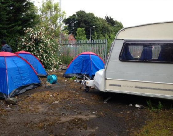 The loyalist protest camp at Twaddell Avenue at its infancey